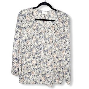 Pins and Needles red blue cream floral blouse